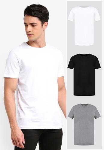 Burton Menswear London black 3 Pack White, Black And Grey Crew Neck T-Shirts 01197AAA4E2FDAGS_1