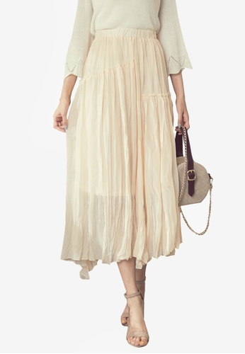 YOCO beige Pleated Wrinkle Shape Dress 3A917AA2401308GS_1