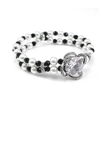 Glamorousky silver Fancy Fashion Pearl Bracelet with Silver Austrian Element Crystal F3D65AC55AF3B6GS_1