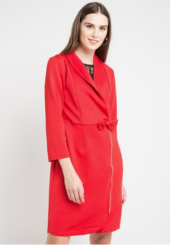 ELLE red Coat With Collar V D9A47AAA62F667GS_1