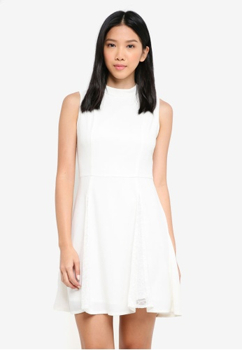 ZALORA white Lace Godet Dress C52F2AA8F34912GS_1