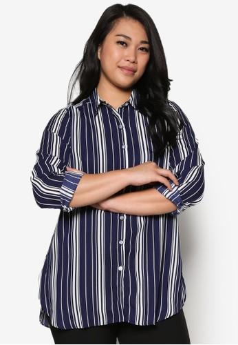 直條紋長袖襯衫, zalora 心得服飾, 上衣