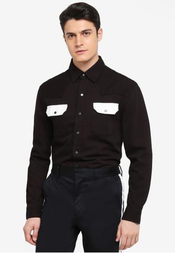 Calvin Klein 黑色 and 白色 撞色口袋牛仔襯衫 1F3BCAA30E8766GS_1