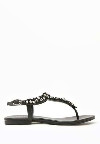 PAZZION black Almond Star Embellished T-Bar Sandals 00105SH3278547GS_1
