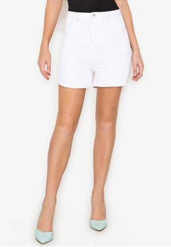 ZALORA BASICS white Roll Hem Mom Denim Shorts 9E474AAB6E0258GS_1