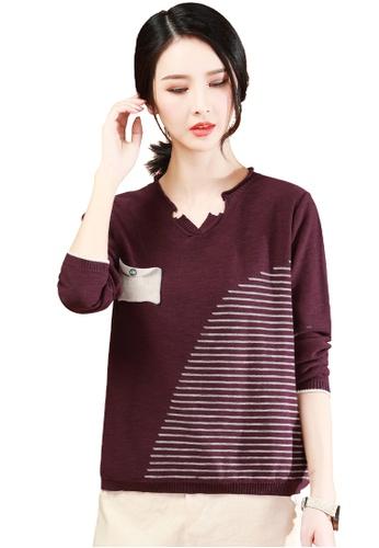 A-IN GIRLS black and purple V-Neck Striped Sweater 34EA8AA8E5ED97GS_1
