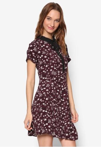 碎花襯衫領短袖連esprit 工作身裙, 服飾, 洋裝