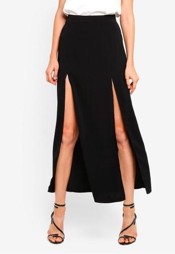 Preen & Proper black A-Line High Slit Front Skirt 8B799AAE5A9598GS_1