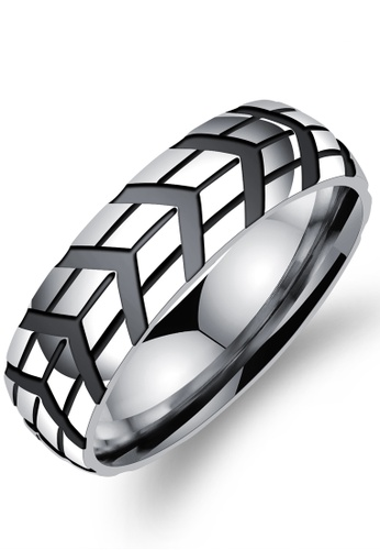 Trendyshop black and silver Men's Fashion Ring 4D454AC5D7B787GS_1