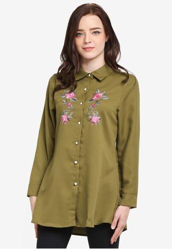 BYN green Embroidery Shirt 250B3AAAC74C58GS_1