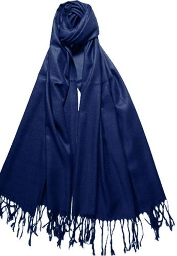 SHINE blue Navy Blue Pashmina Shawl 9ABBBAA053683AGS_1
