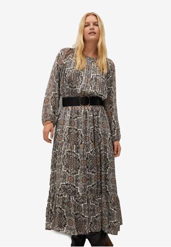 Violeta by MANGO 灰色 Plus Size Flowy Printed Dress EB81AAAA2D263EGS_1