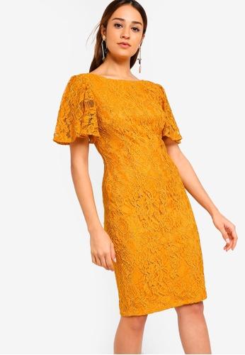 ZALORA yellow Flare Sleeves Lace Sheath Dress D79C0AABBAE367GS_1