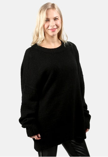 London Rag black Crew Neck Oversize Sweater with Ribbed Bottom and Cuffs DAF59AA0535637GS_1