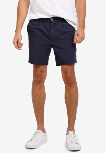 "ZALORA navy 6"" Elastic Waistband Washed Linen Shorts AEC72AAD696127GS_1"