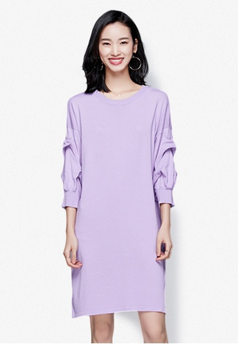 Sunnydaysweety purple Classic Pure Color Knit One Piece Dress 84048AA9327E35GS_1