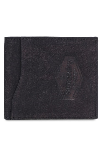 Superdry black WINDSR LEATHER WALLET IN A BOX SU137AC0RSGVMY_1