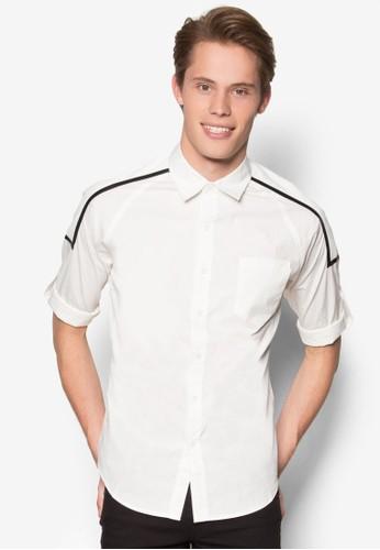 PU 滾邊長袖襯衫、 服飾、 襯衫24:01PU滾邊長袖襯衫最新折價