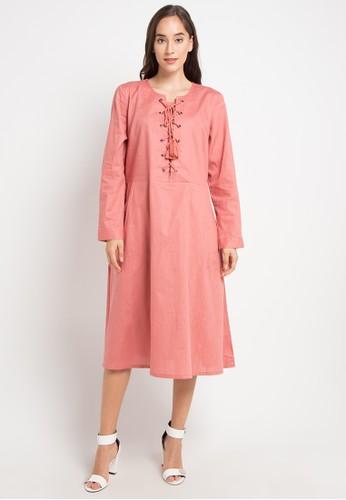 SIMPLICITY pink Long Sleeve Mini Dress 34785AAC143A9CGS_1