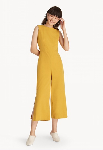 Pomelo yellow Sleeveless Side Slit Jumpsuit - Yellow 656F2AA764A98AGS_1