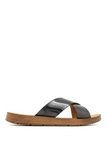Carlo Rino black Carlo Rino 33370-A007-08 Slide Flat Sandals (Black) D6F95SH1B52D92GS_1