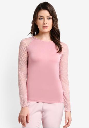 Zalia pink Raglan Lace Sleeve Basic Inner Top F3772AA96162D3GS_1