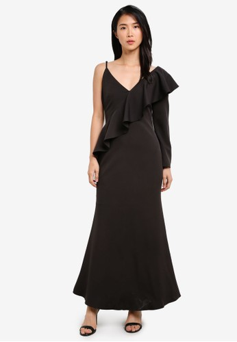 Preen & Proper black Asymmetrical Maxi Mermaid Dress PR614AA0S9V3MY_1