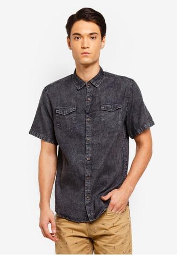 297f67c5f6 Fidelio black Printed Pattern Washed Denim Shirt A6210AA20A4675GS 1