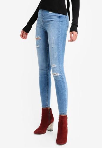 River Island blue Rip Harper High Waisted Skinny Jeans 0A54FAA279E287GS_1
