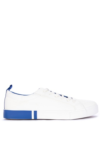 Penshoppe white and blue Lace-Up Sneakers 72DB1SH711DD24GS_1