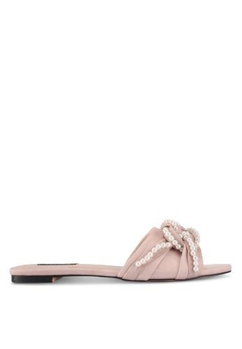 ZALORA 粉紅色 珍珠飾扭結拖鞋 AD608SH2F94312GS_1