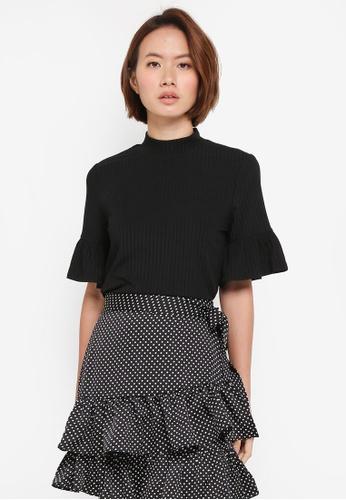 ZALORA black Frill Sleeves Knit Top 0E47CAA71CE879GS_1
