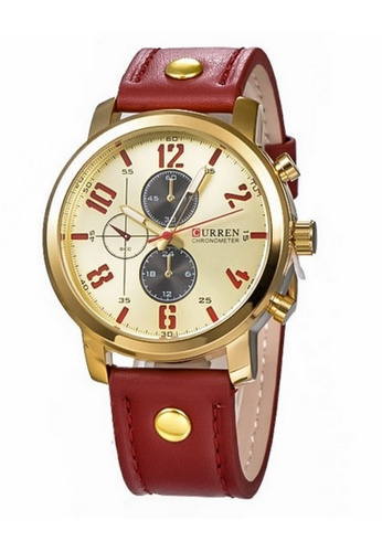 curren red and gold Curren 8192 Men's Leather Strap Watch (Gold Red) CU537AC09SZMMY_1