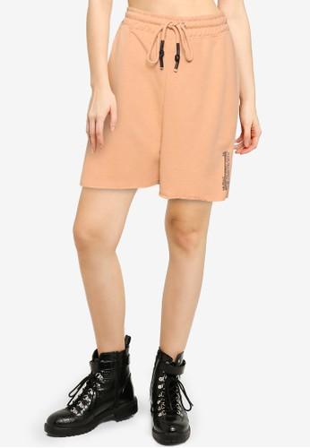 Public Desire pink Graphic Detail Raw Edge Shorts B12A3AA982CD24GS_1