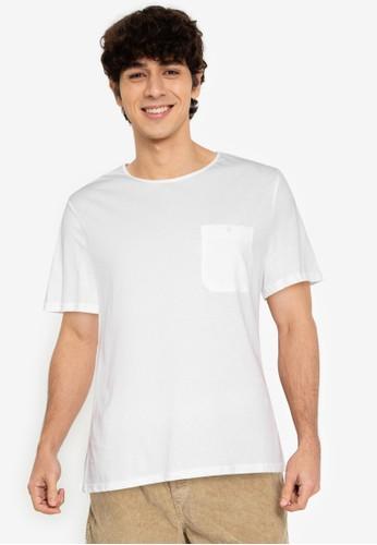 ZALORA BASICS white Chest Button Pocket Tee 4816AAA97E10A7GS_1
