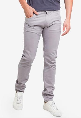 OVS 灰色 修身綢緞長褲 A5DFAAA6818553GS_1