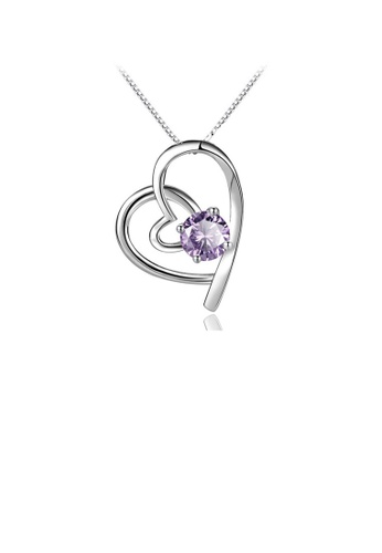 Glamorousky purple Fashion 925 Sterling Silver Heart Pendant with Purple Cubic Zircon and Necklace ABD8AAC421D657GS_1