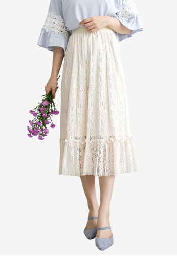Tokichoi beige Lace Cutout Midi Skirt 12EA8AA851767DGS_1