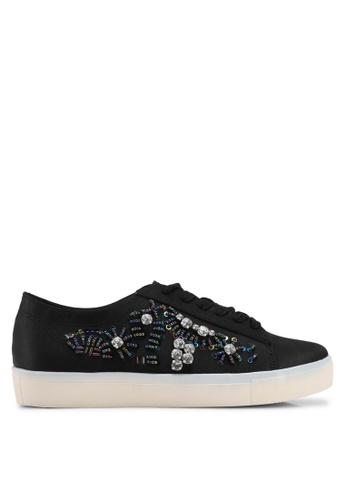 Velvet black Embellished Sneakers 0EADESHF9E16D3GS_1