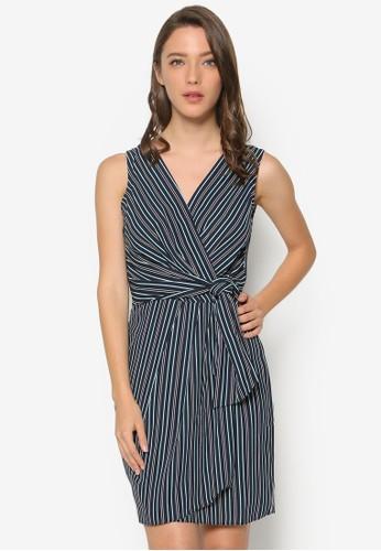 裹飾繫esprit台灣官網帶條紋連身裙, 服飾, 洋裝