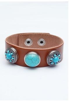 Pre-styled Genuine Leather 3-Snap Bracelet
