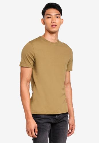 Topman green Short Sleeve Khaki Slim Fit Crew Tee 3BD46AA805997AGS_1