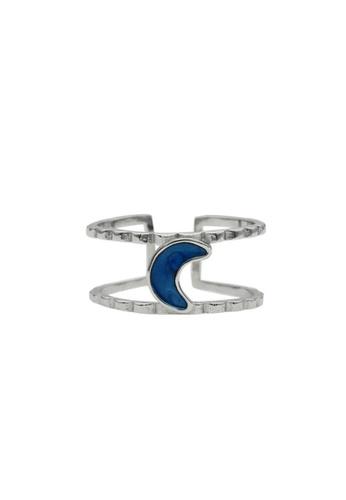 LYCKA silver LDR1344 S925 Silver Blue Crescent Ring 3E54DAC3ECC6E1GS_1