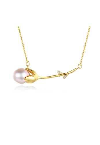 SUNRAIS gold Premium color stone golden flower necklace DDD49AC56E3202GS_1