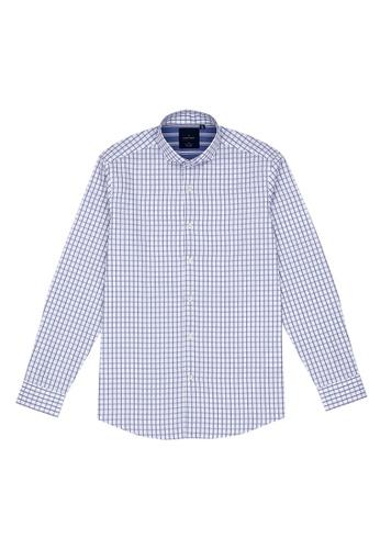 Benjamin Barker white Niigata Easy Iron Indigo Check Shirt D8D3FAA1F412C3GS_1
