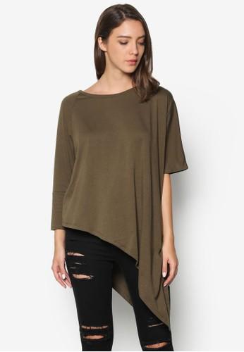 Asymmetric Drape zalora 台灣Top, 服飾, T恤