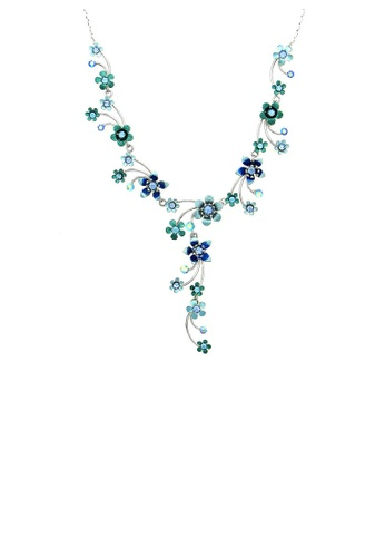 Glamorousky silver Tiny Blue Flowers Necklace with  Blue Austrian Element Crystals 93FEBAC1E8CF66GS_1