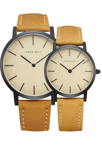 Aries Gold beige Aries Gold Couple Set -  Santos G 1022 & L 1023 BK-BEI Black and Beige Leather Watch 74819AC4BEC6DDGS_1