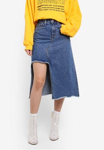 Stylenanda blue Denim Split Midi Skirt D6769AAAB1A639GS_1