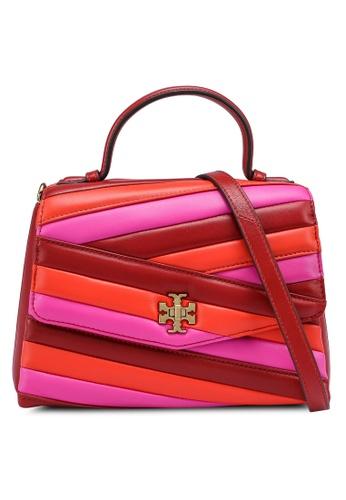 TORY BURCH red and multi Kira Chevron Color-Block Top-Handle Satchel Bag (zt) 53A67AC570F1A8GS_1